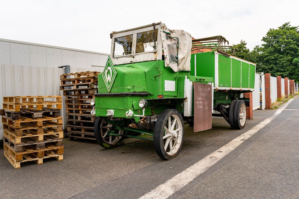 Old German truck used for fish transportation between the port and the city of Bremerhaven