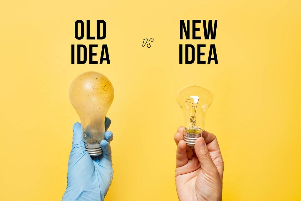 Old idea vs New idea concept