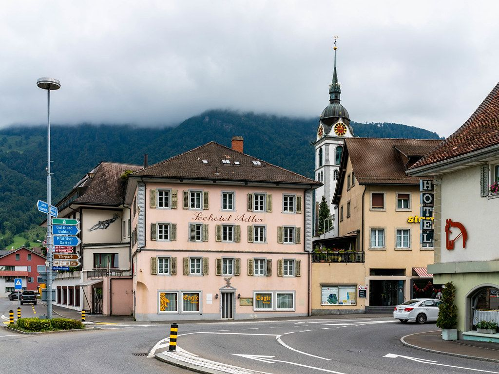 Old Swiss hotel Adler in the small Swiss lake town Arth