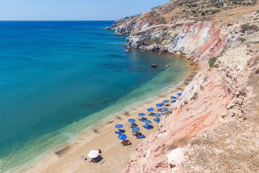 One of the most famous beaches on Milos: Paliochori beach, location of the Deep Blue Beach Bar