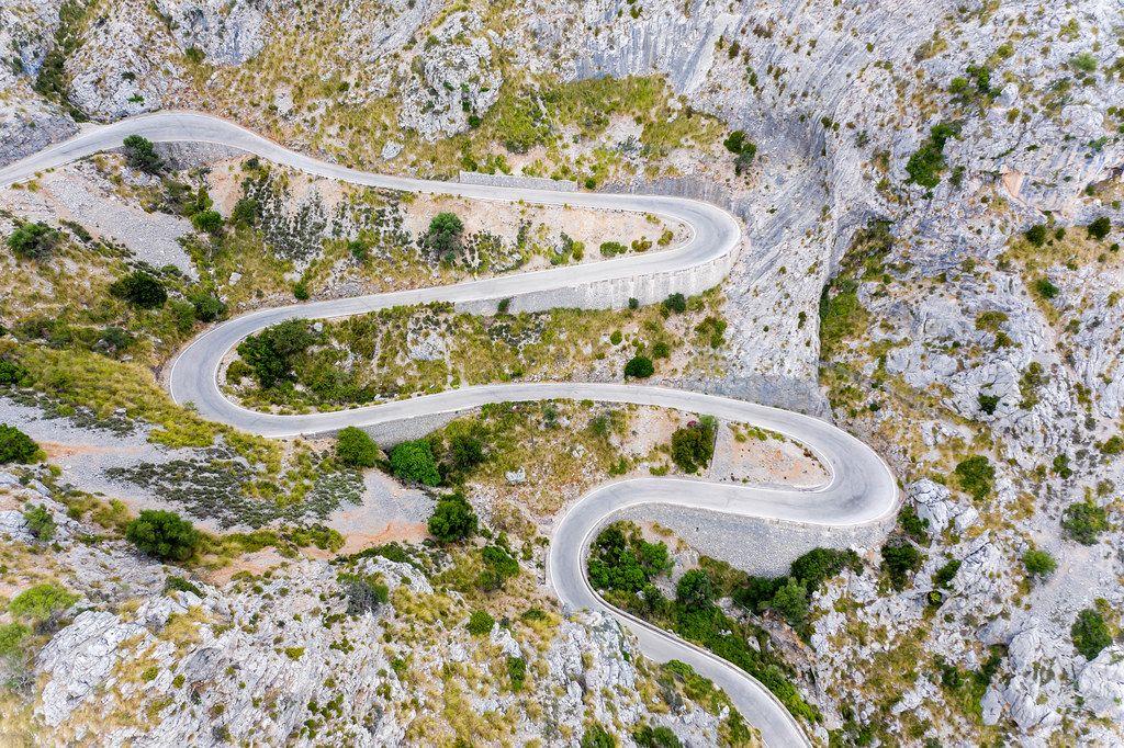 One of the most famous serpentine roads in the world: Carretera de Sa Calobra, Majorca, aerial view