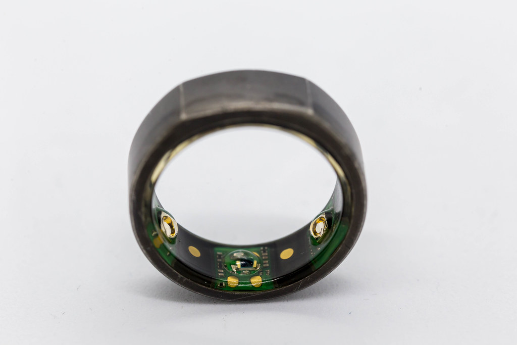 Oura Ring: close-up of personal health tracking device with advanced sensor technology