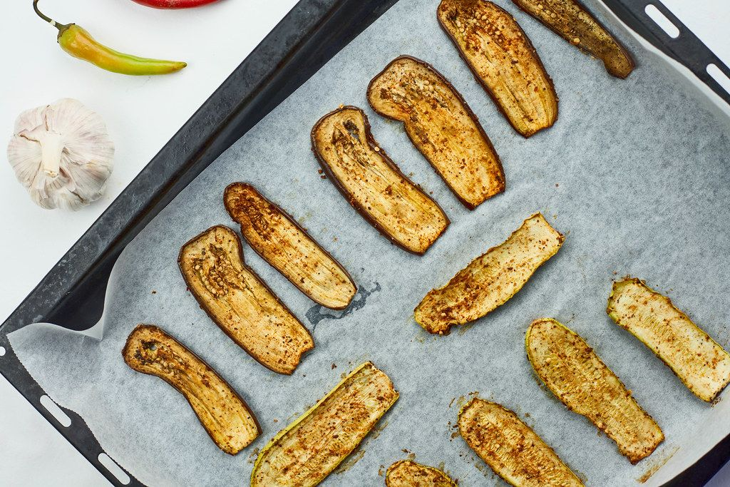 Oven baked eggplant slices with spices