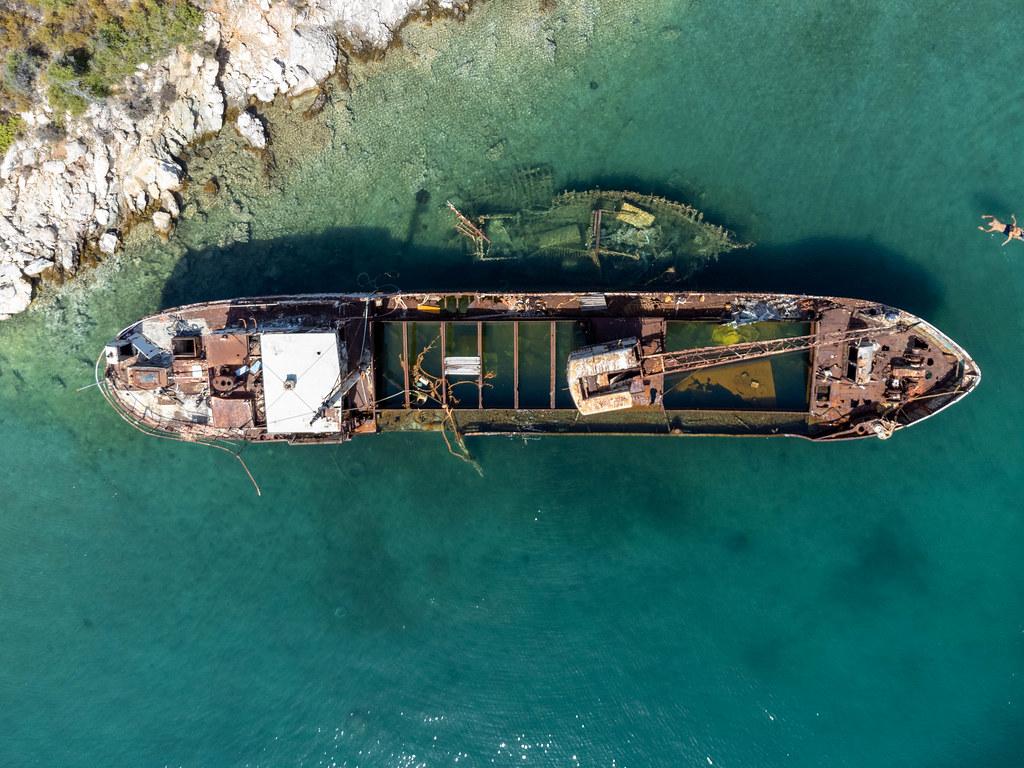 Overhead shot of ship wrack