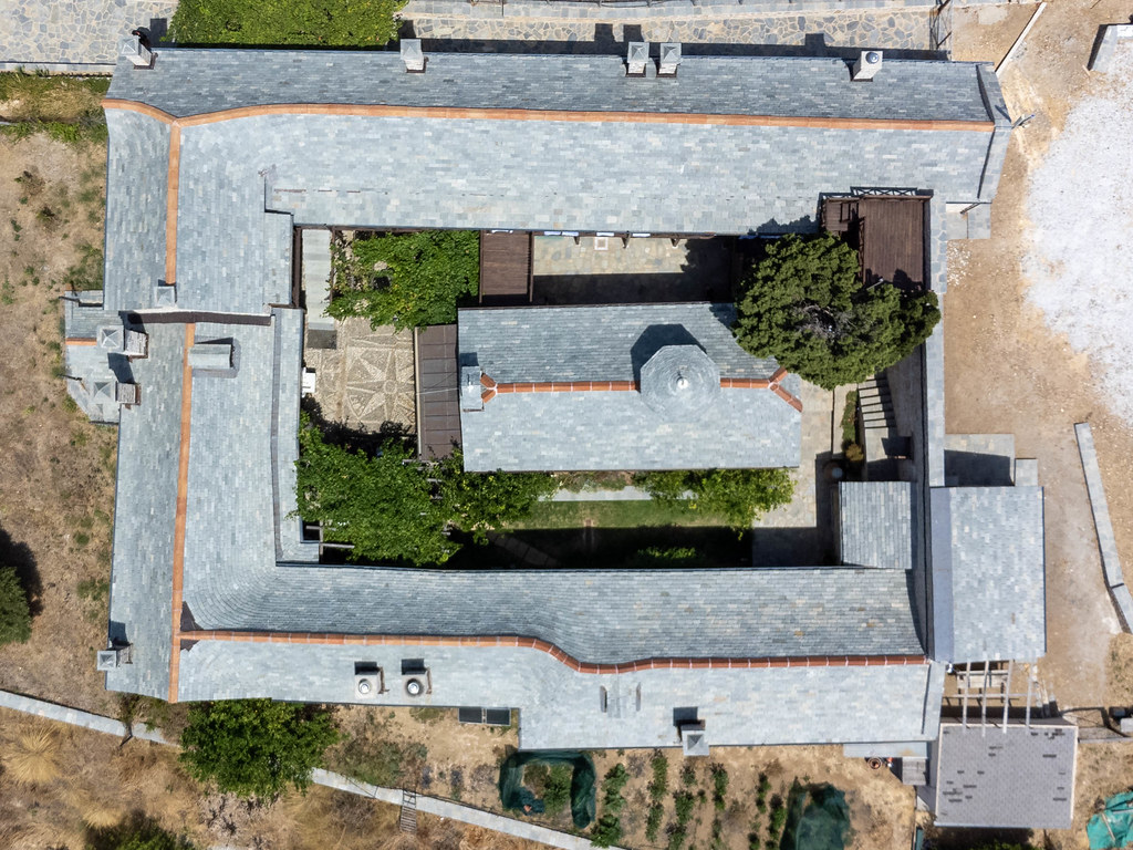 Overhead shot of the renovated Kyra Panagia Monastery on the east coast of the otherwise uninhabited island