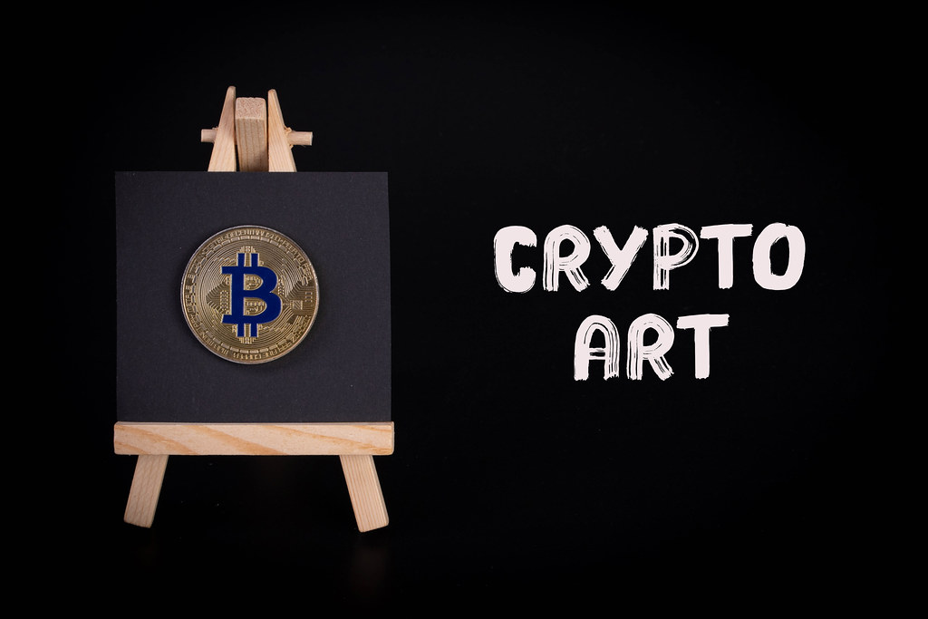 Painting art board with Bitcoin coin and Crypto Art text
