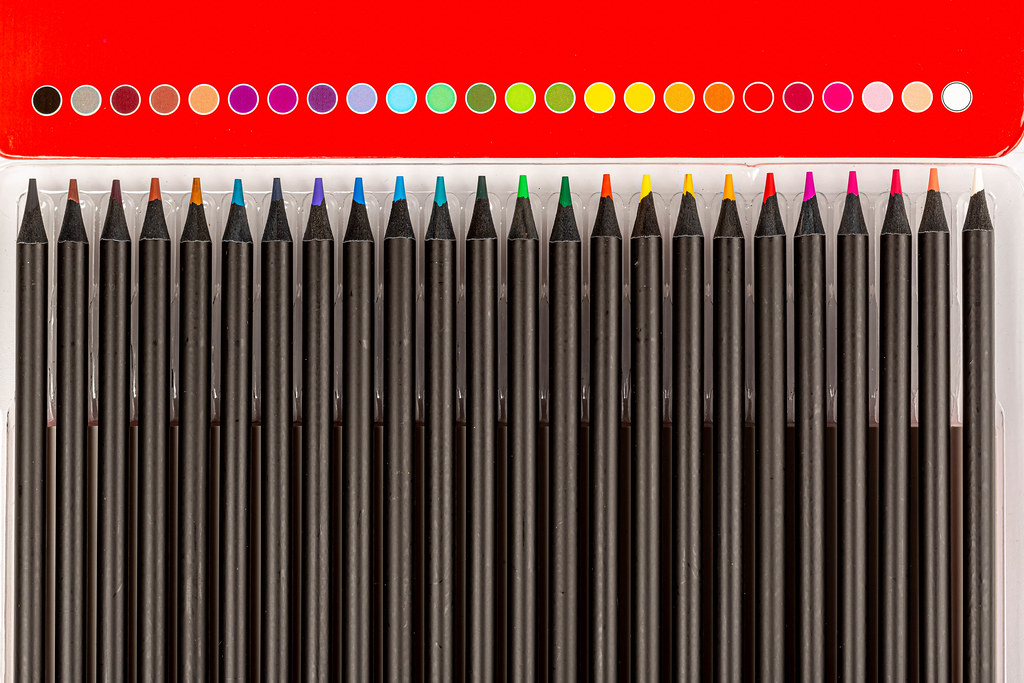 Palette of color pencils, view from above