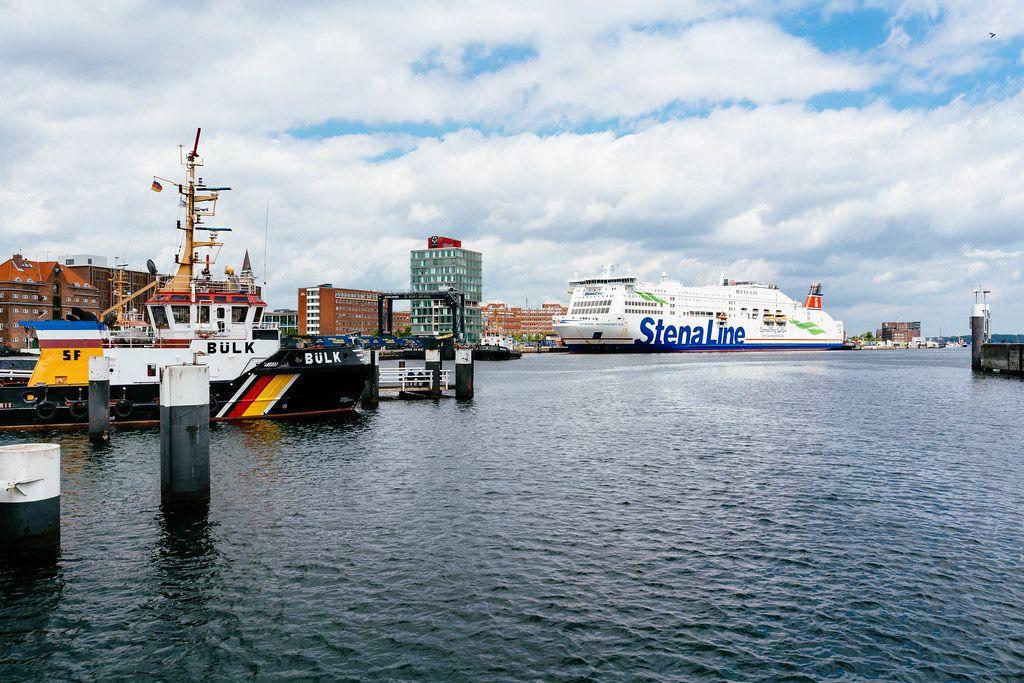 Panorama of Kiel port situated at Baltic sea