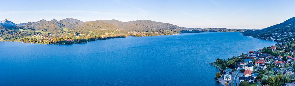 Panorama picture of Lake Tegernsee in the Bavarian Alps between the towns of Tegernsee and Bad Wiessee on the shores