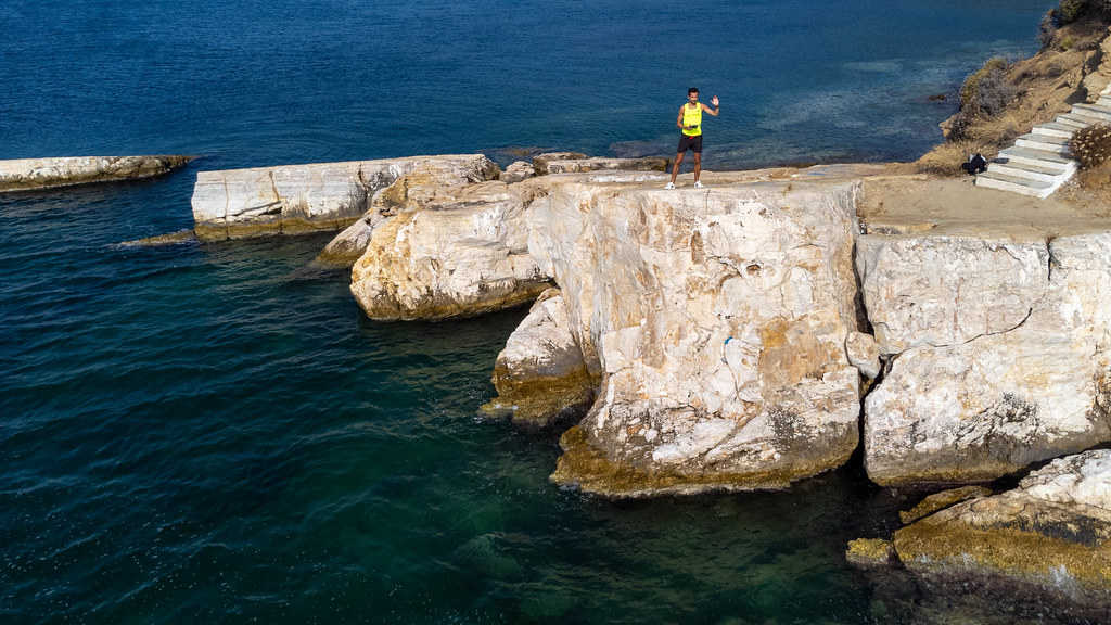 Paralia Plakes on Skiathos, Greece: photographing the rocky coast with a drone