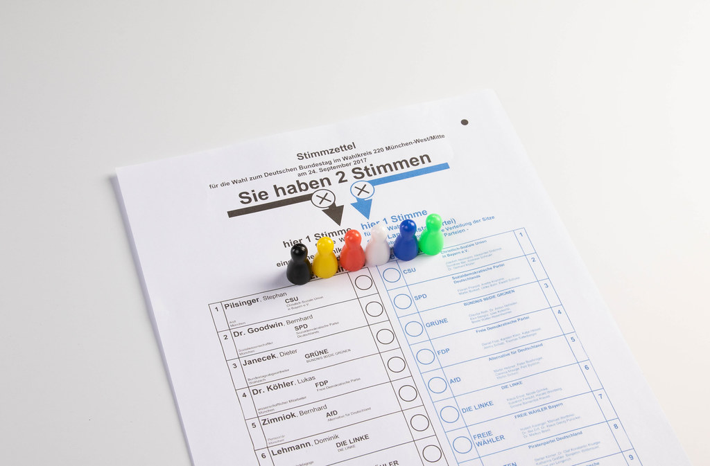 Parteien zur Bundestagswahl, Figuren vor einem Stimmzettel