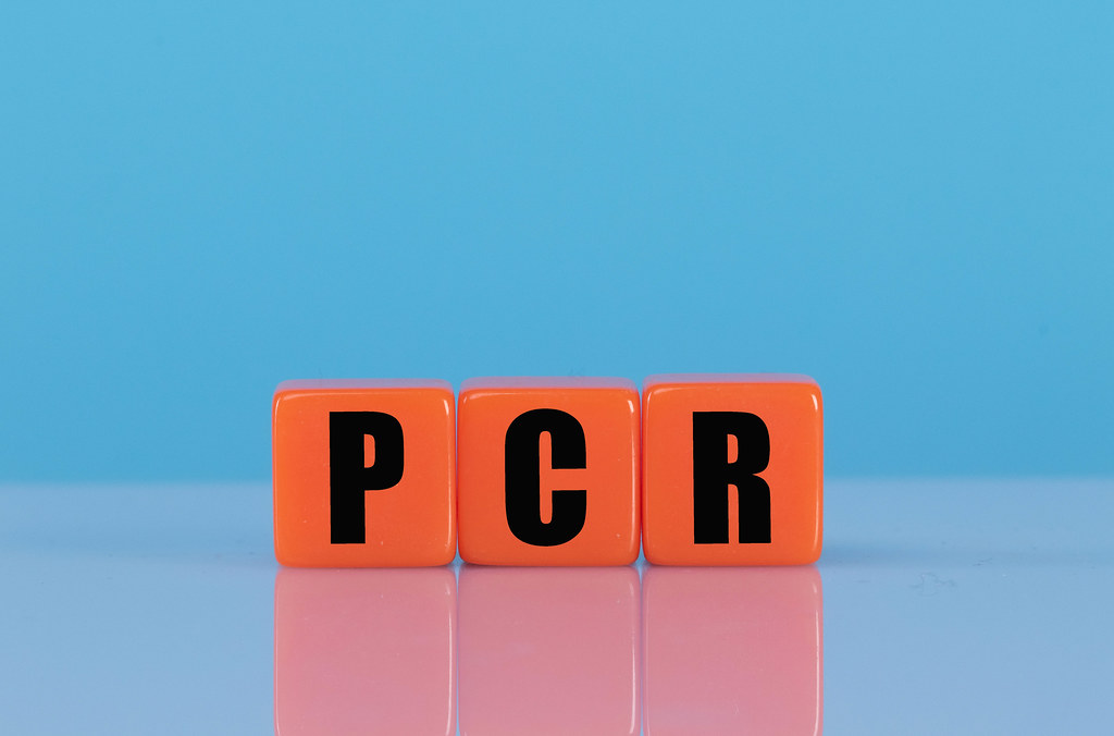 PCR text on orange cubes