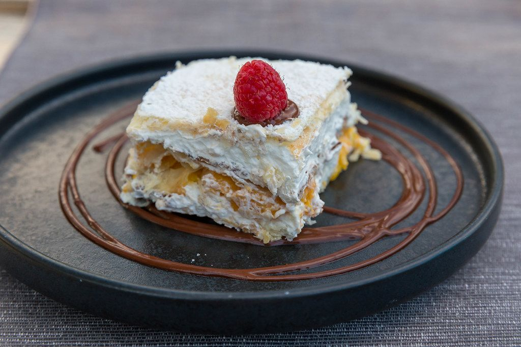 Peach & cream mille feuille with chocolate sauce: French dessert at Villa vegana in Selva, Mallorca