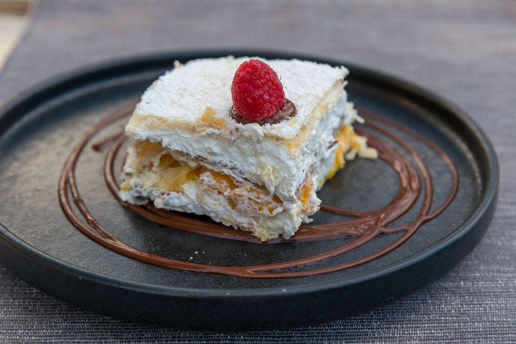 Peach & cream mille feuille with chocolate sauce: French dessert at Villa vegana in Selva, Mallorca