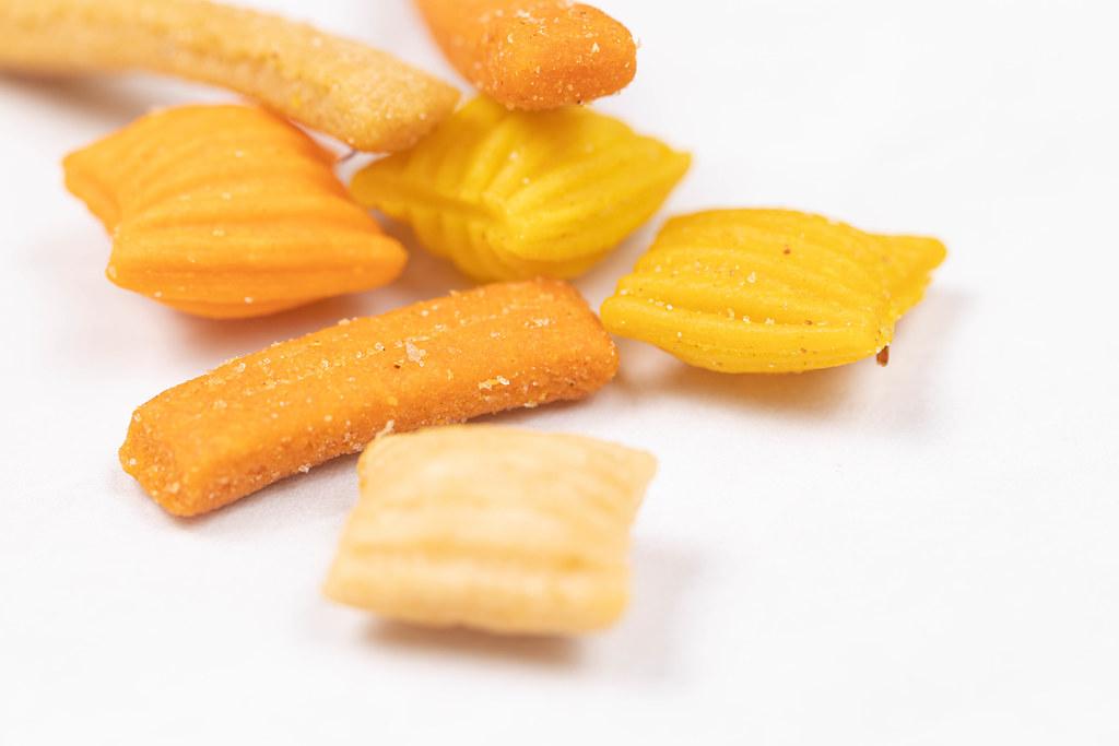 Peanut Snacks above white background