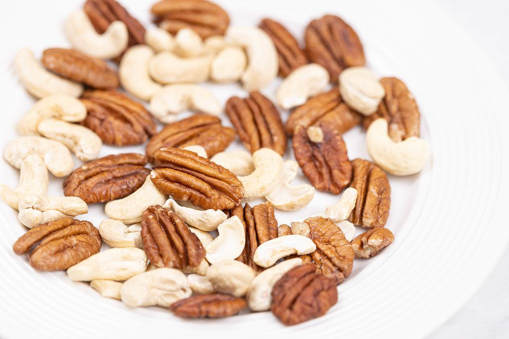 Pecan Nuts and Cashew on the plate