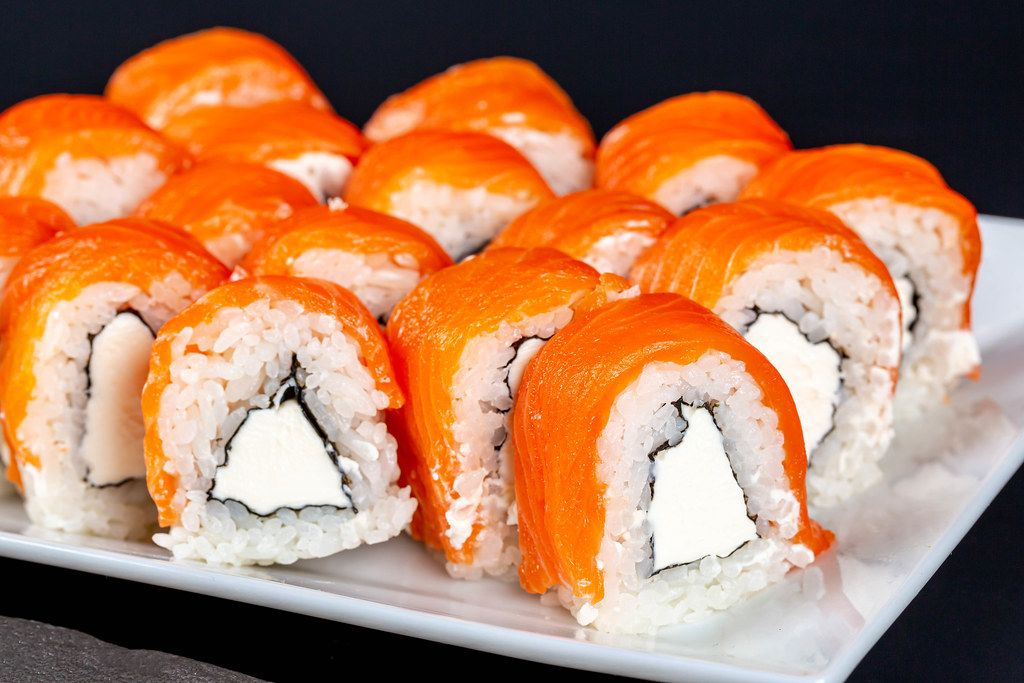Philadelphia roll sushi with salmon and cream cheese