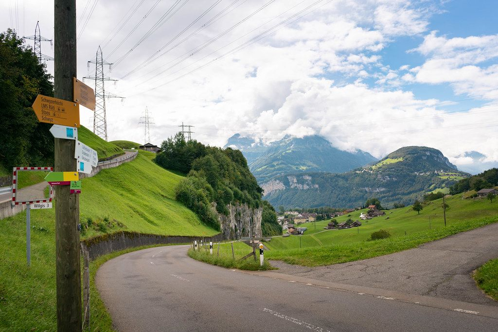 Picturesque Swiss country road