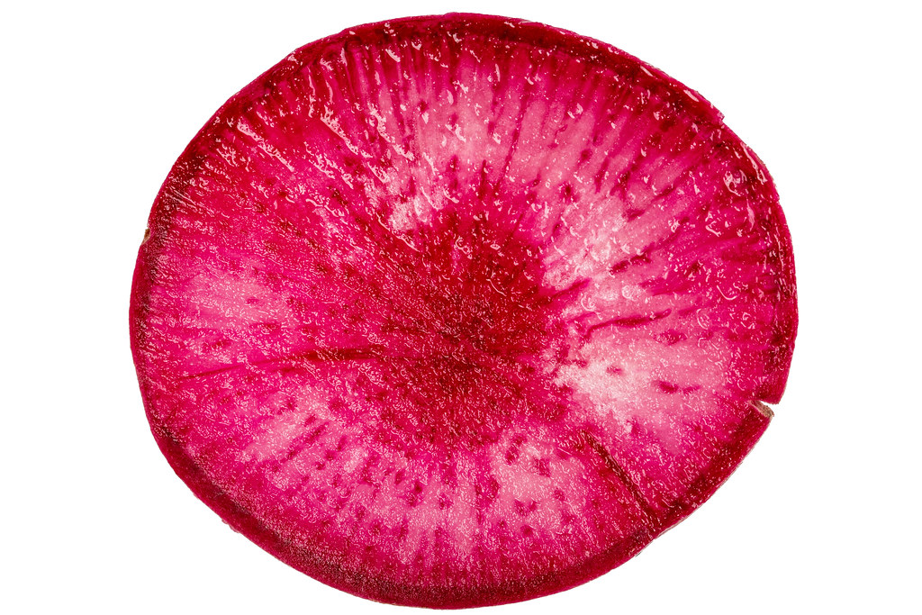 Piece of red radish, top view