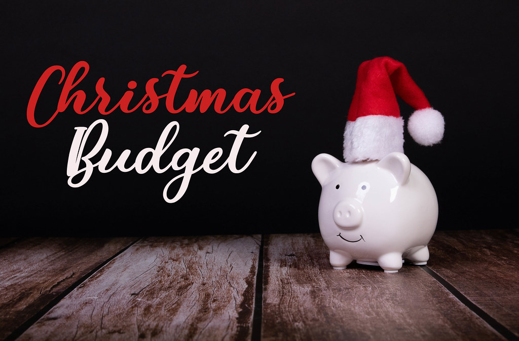Piggy bank with Christmas hat and Chirstmas Budget text