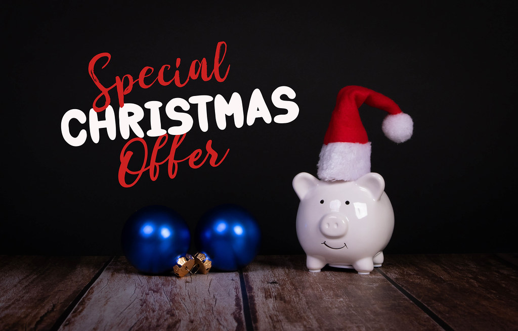 Piggy bank with Christmas hat and Special Christmas Offer text