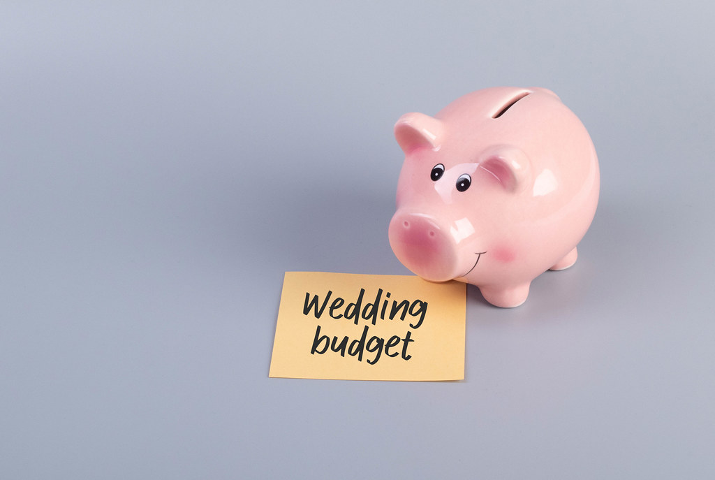 Piggybank with Wedding Budget text