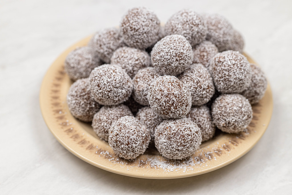 Pile of Chocolate Balls with Coconut on the plate