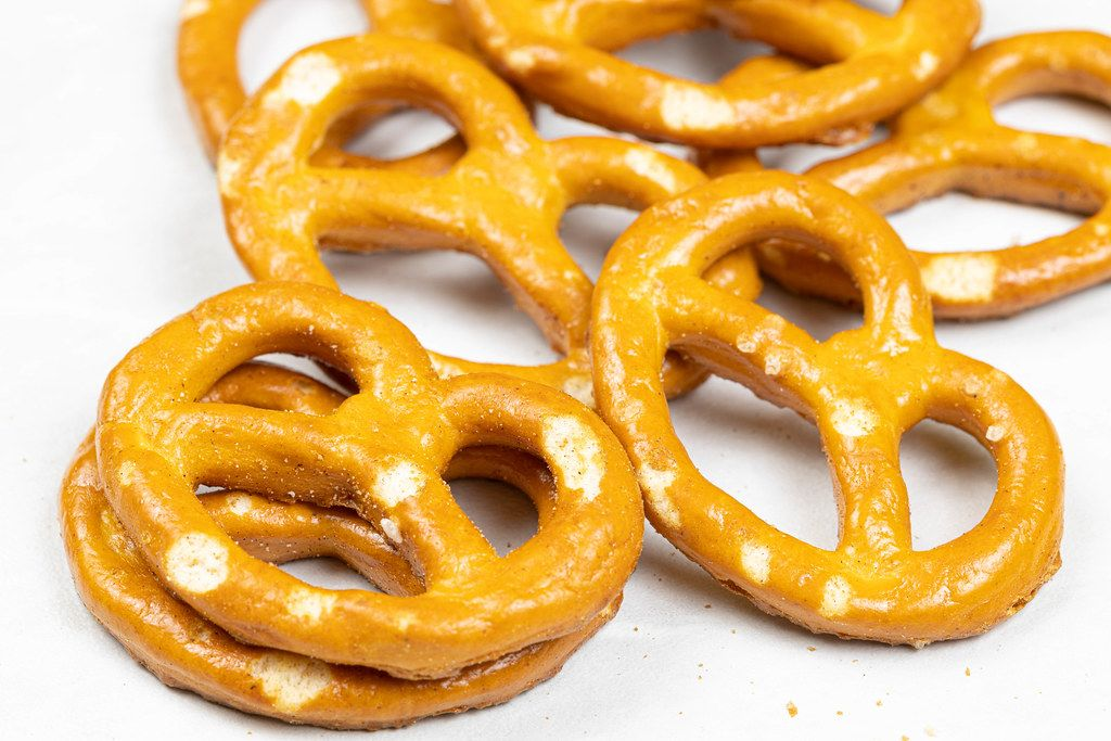 Pile of Pretzels in closeup macro image concept
