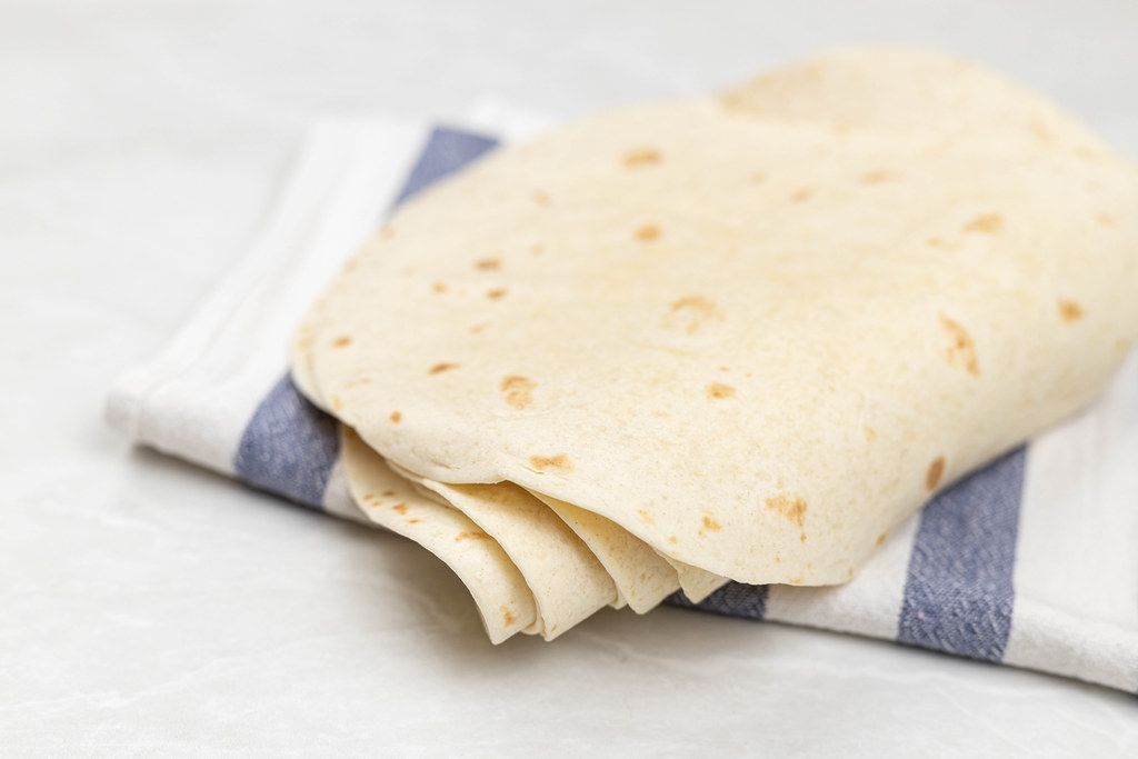Pile of Tortillas on the kitchen dishcloth