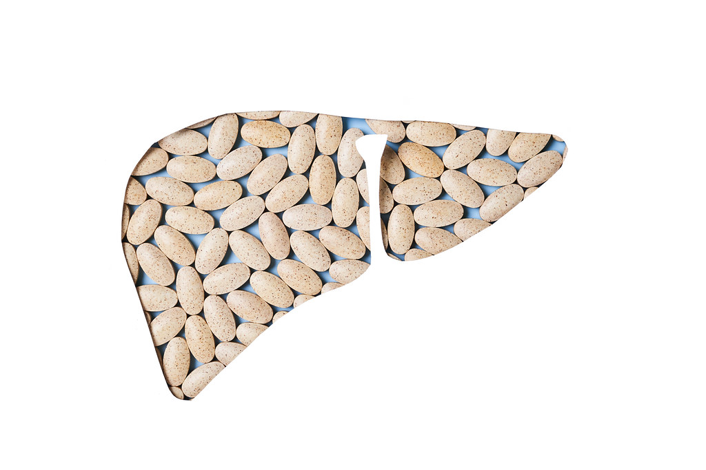 Pills in shape of liver. Liver recovery concept