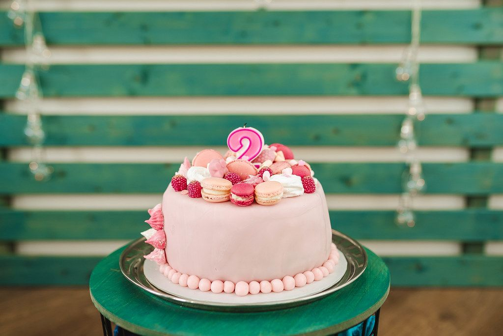 Pink Baby Girl Birthday Cake Two Year Old