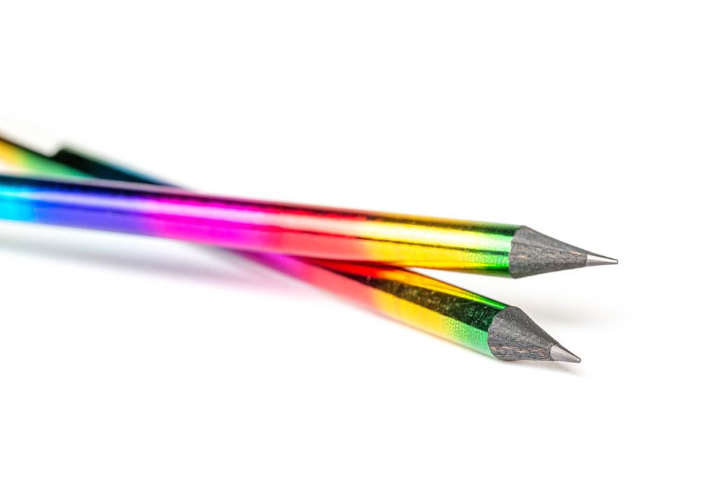 Plain pencils with bright rainbow colors