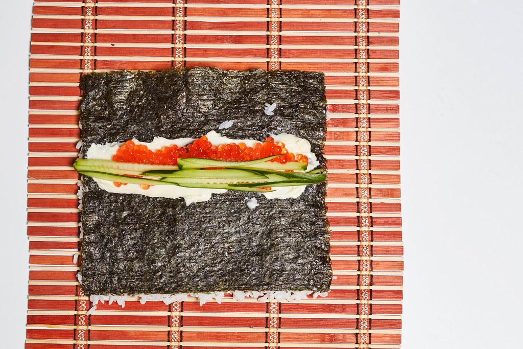 Preparing delicious homemade sushi