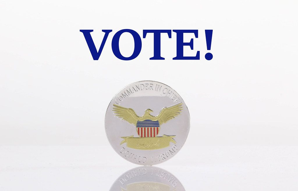 President Donald Trump coin with Vote text