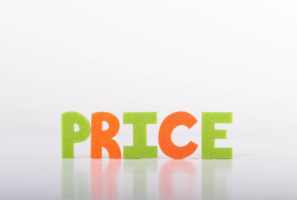 Price text on white background