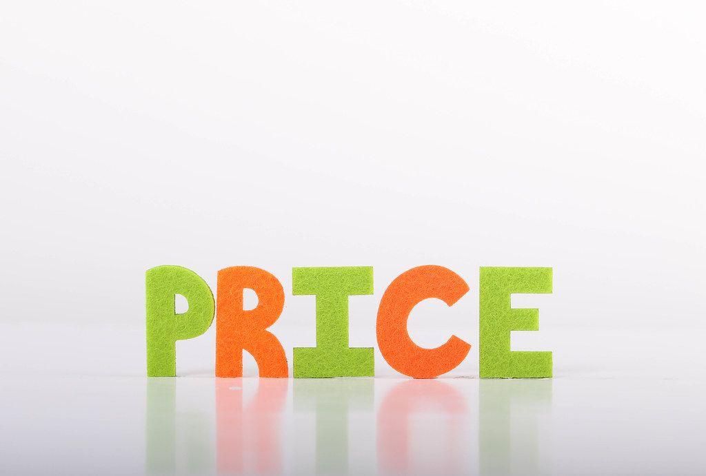 Price text on white background
