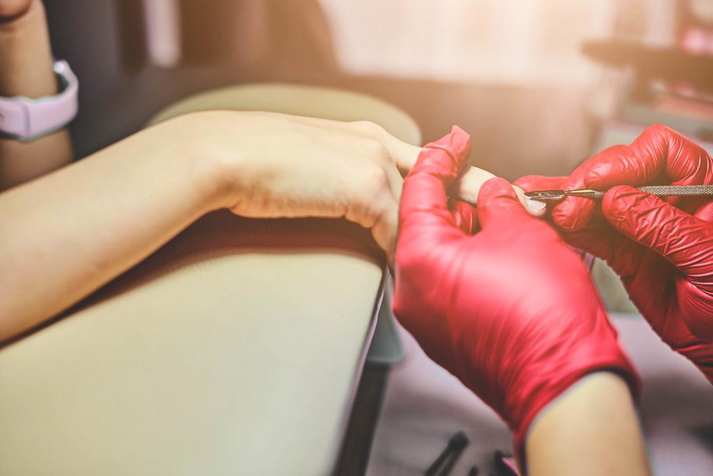 Professional salon manicure procedure