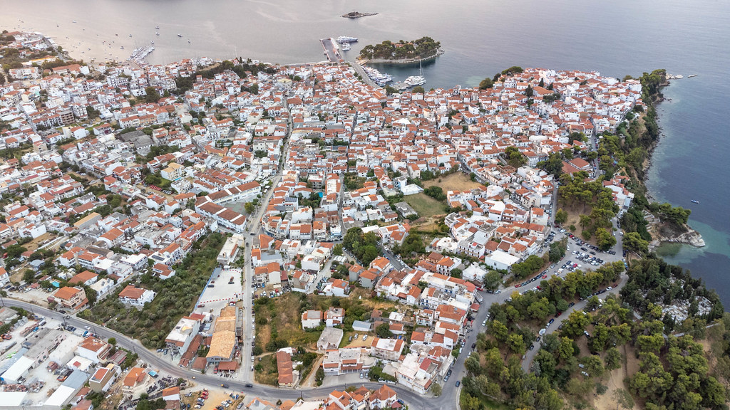Red roofs, white houses. Bird's eye view of the town of Skiathos on the Greek island in Thessaly