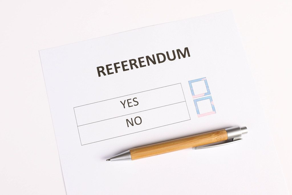 Referendum form with wooden pencil