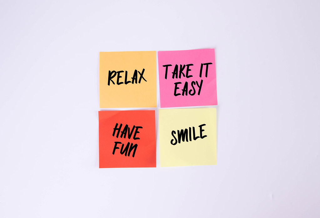 Relax, Take it Easy, Have Fun, Smile - sticky notes set