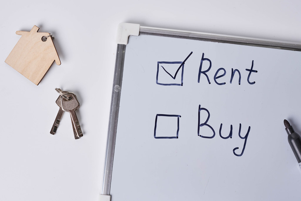 Rent or buy concept. Choice