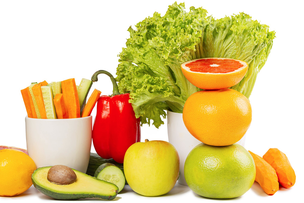 Ripe fresh fruits and vegetables background