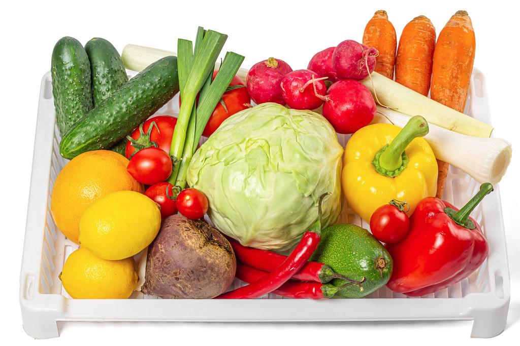 Ripe fruits and vegetables, healthy food ingredients
