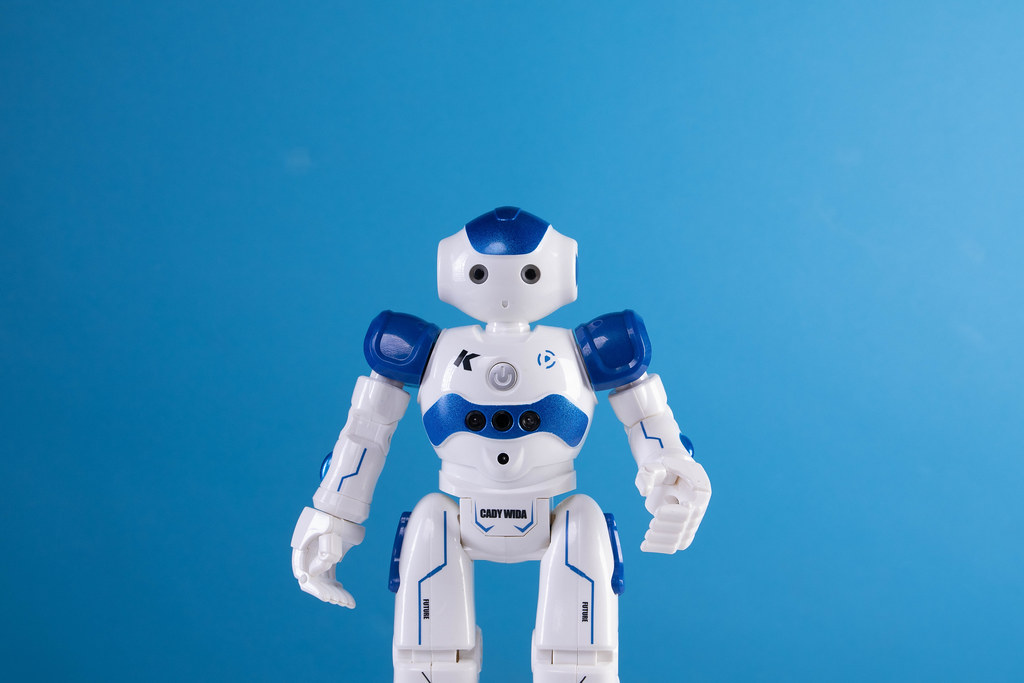 Robot on a blue background