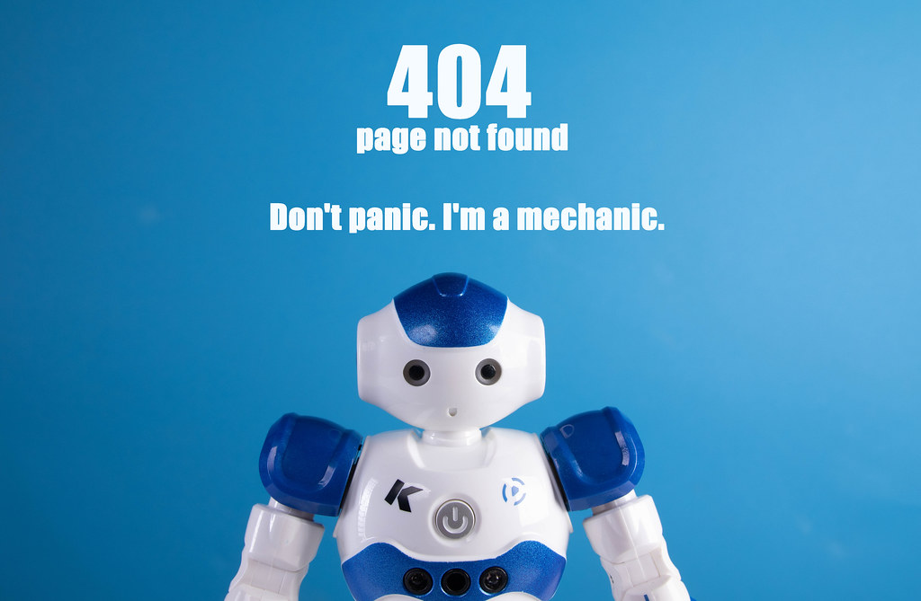 Robot with 404 page not found text
