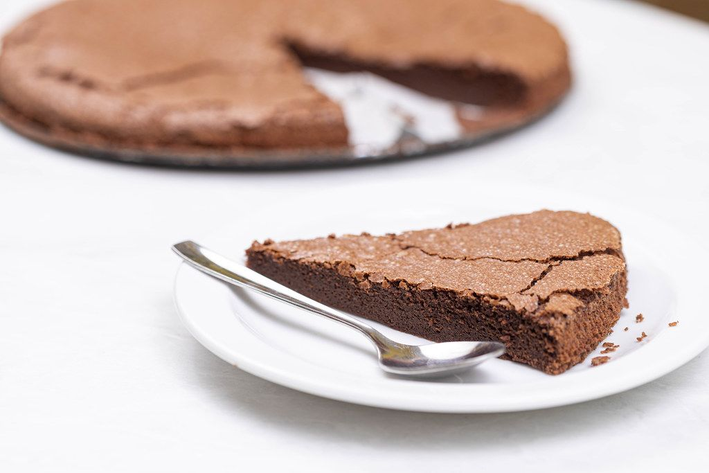 Round Chocolate cake slice on the plate