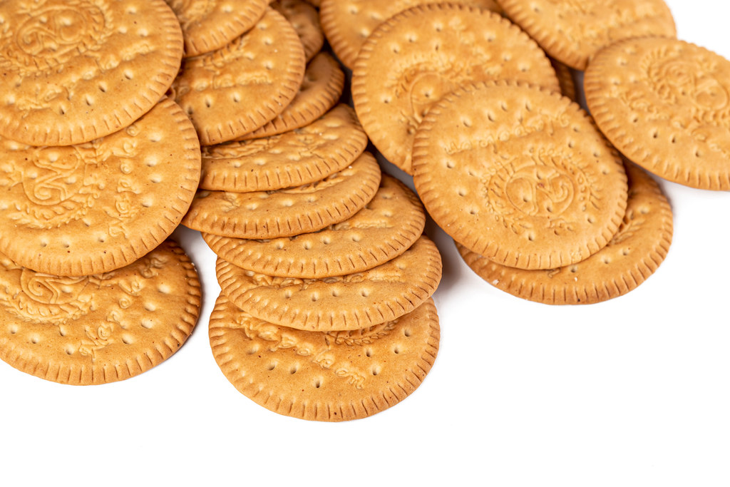 Round cookie crackers on white background