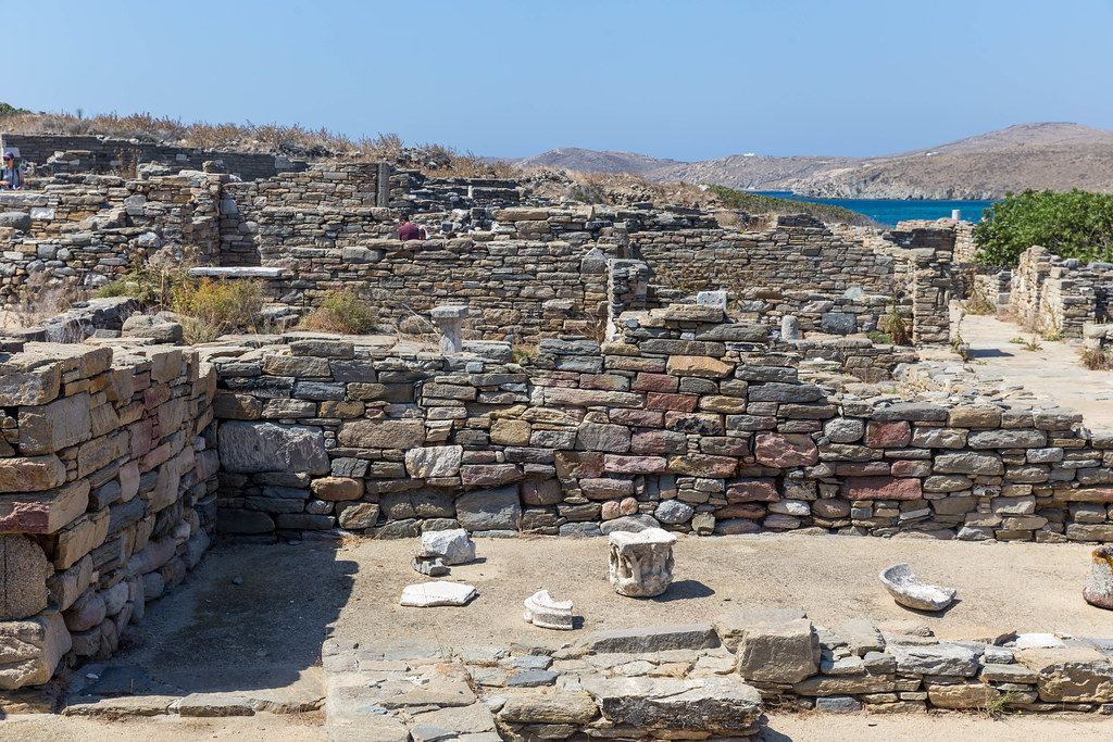 Ruins of ancient houses at the theatre quarter of the World Heritage site of Delos in the Cyclades, Greece