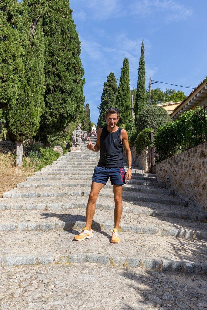 Running while on holiday in Majorca. Keeping fit by climbing up the famous 365 steps in Pollença
