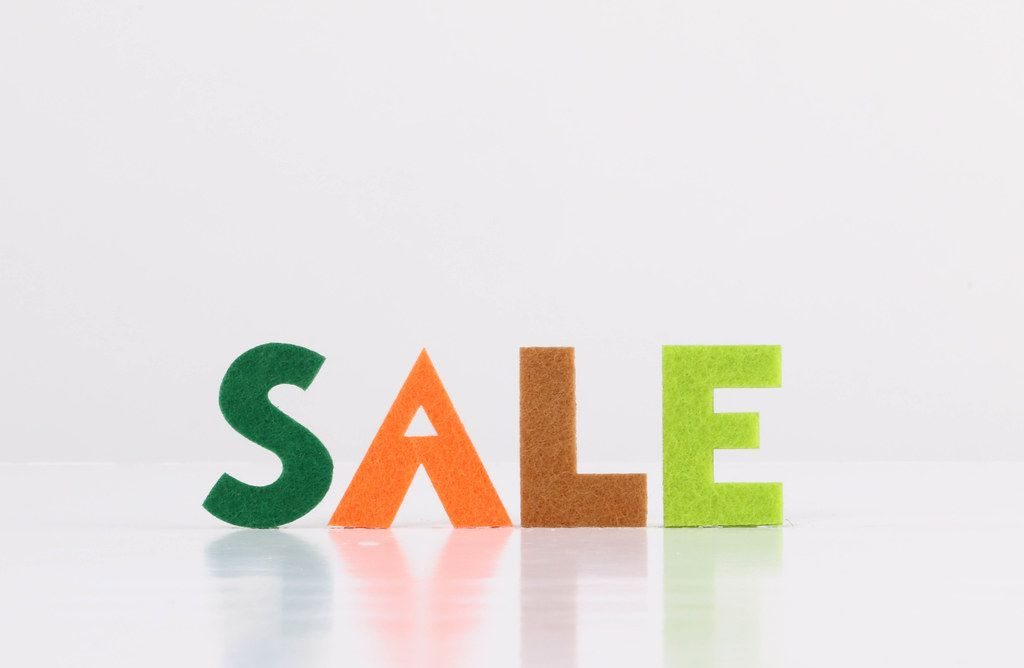 Sale text on white background